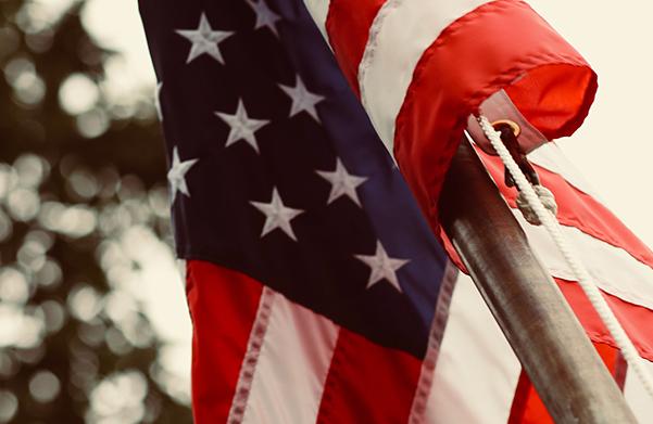 Showing USA flag